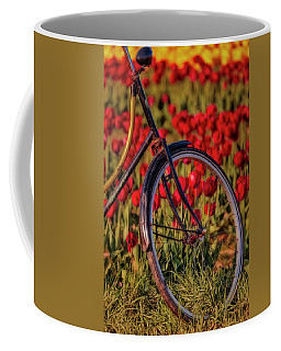 Coffee Mug featuring the photograph Tulips And Bicycle by Susan Candelario