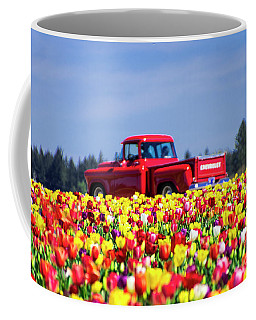 Tulips And Red Chevy Truck Coffee Mug