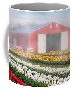 Coffee Mug featuring the photograph Tulips, Fog And Barn by Susan Candelario