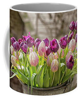Coffee Mug featuring the photograph Tulips In A Bucket by Patricia Hofmeester