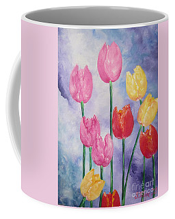 Ten  Simple  Tulips  Pink Red Yellow                                Flying Lamb Productions   Coffee Mug