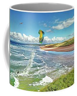 Tullan Strand - Surf, Blue Sky And A Kite Surfer Enjoying The Waves Coffee Mug