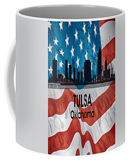 Tulsa Ok American Flag Vertical Coffee Mug