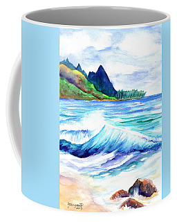 Coffee Mug featuring the painting Tunnels Beach by Marionette Taboniar