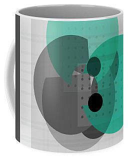 Turquoise And Gray Abstract Art Coffee Mug
