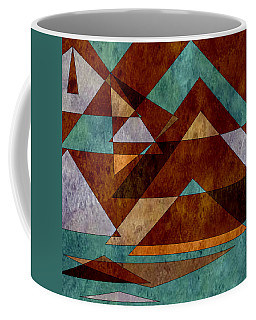 Turquoise And Bronze Triangle Design With Copper Coffee Mug