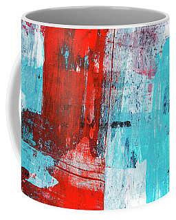 Coffee Mug featuring the painting Turquoise And Red Abstract Painting by Christina Rollo
