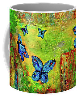 Coffee Mug featuring the painting Turquoise Butterflies by Haleh Mahbod