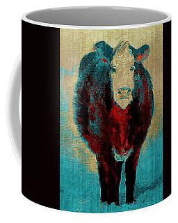 Turquoise Cow Art Painting  Coffee Mug