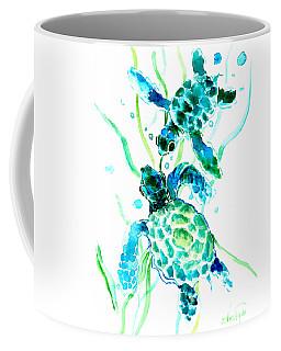 Turquoise Indigo Sea Turtles Coffee Mug