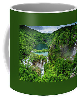 Turquoise Lakes And Waterfalls - A Dramatic View, Plitivice Lakes National Park Croatia Coffee Mug