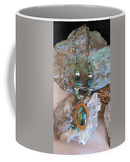 Turquoise Set In Gourd Wood #d142 Coffee Mug