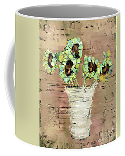 Coffee Mug featuring the painting Turquoise Sunflowers by Carrie Joy Byrnes