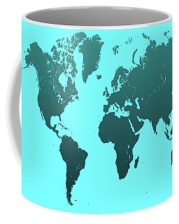 Coffee Mug featuring the photograph Turquoise World Map by Jenny Rainbow
