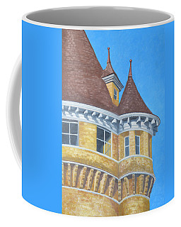 Coffee Mug featuring the drawing Turrets Of Lawson Tower by Dominic White