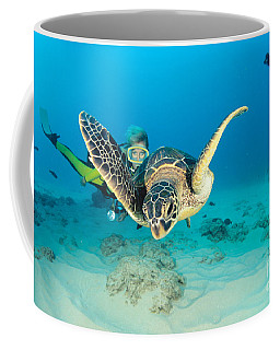 Turtle And Diver Coffee Mug