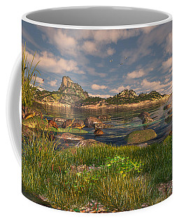 Coffee Mug featuring the digital art Turtle Cove by Mary Almond