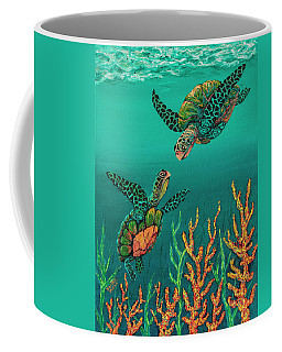 Coffee Mug featuring the painting Turtle Love by Darice Machel McGuire