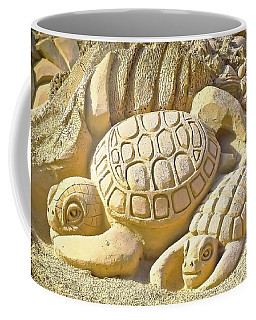 Turtle Sand Castle Sculpture On The Beach 999 Coffee Mug