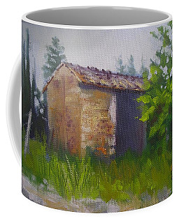 Coffee Mug featuring the painting Tuscan Abandoned Farm Shed by Chris Hobel