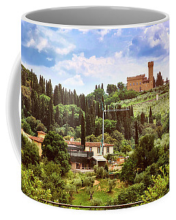 Tuscan Fields And Old Castle In Florence Coffee Mug