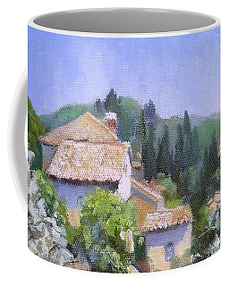 Coffee Mug featuring the painting Tuscan  Hilltop Village by Chris Hobel