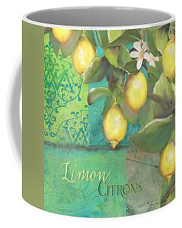 Tuscan Lemon Tree - Damask Pattern 2 Coffee Mug by Audrey Jeanne Roberts