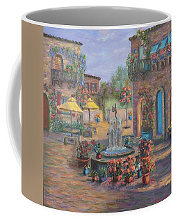 Beautiful Tuscan Villa Flower Garden Fountain Painting Coffee Mug