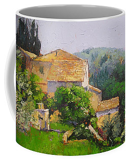 Coffee Mug featuring the painting Tuscan Village by Chris Hobel