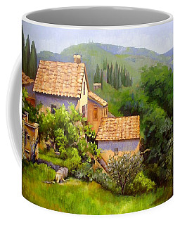 Coffee Mug featuring the painting Tuscan Village Memories by Chris Hobel