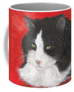 Tuxedo Cat Animal Pets Lazing Portrait Cathy Peek Coffee Mug