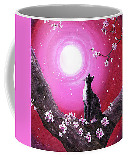 Tuxedo Cat In Cherry Blossoms Coffee Mug