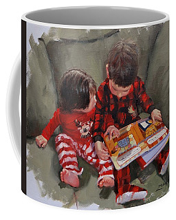Coffee Mug featuring the painting Twas The Night Before by Laura Lee Zanghetti