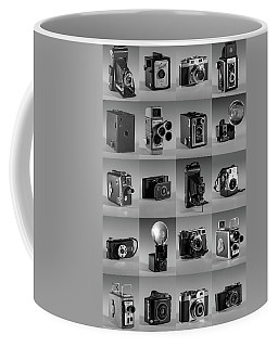 Twenty Old Cameras - Black And White Coffee Mug