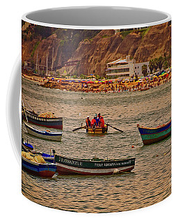 Coffee Mug featuring the photograph Twilight At The Beach, Miraflores, Peru by Mary Machare
