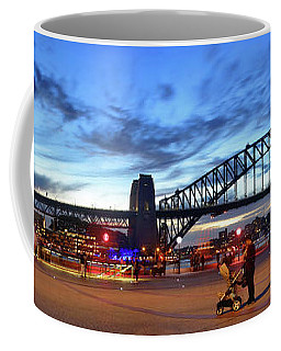 Coffee Mug featuring the photograph Twilight By The Bridge By Kaye Menner by Kaye Menner