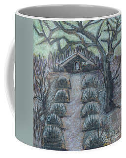 Coffee Mug featuring the drawing Twilight In Garden, Illustration by Ariadna De Raadt