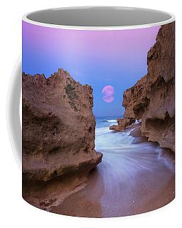 Twilight Moon Rising Over Hutchinson Island Beach Rocks Coffee Mug by Justin Kelefas