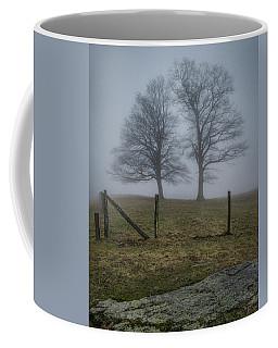 Twin Trees Late Fall Foggy Morning Coffee Mug