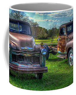Almost Twins 1952 Chevrolet 1952 Gmc Flatbed Truck Art Coffee Mug