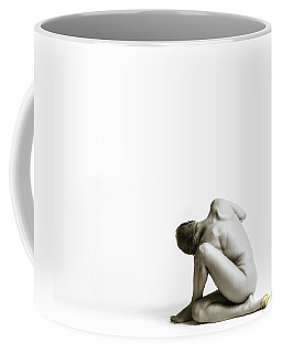 Coffee Mug featuring the photograph Twisted Figure On White by Rikk Flohr