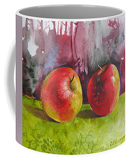 Coffee Mug featuring the painting Two Apples by Elena Oleniuc