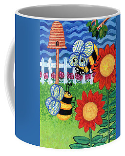 Two Bees With Red Flowers Coffee Mug