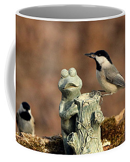 Two Black-capped Chickadees And Frog Coffee Mug by Sheila Brown