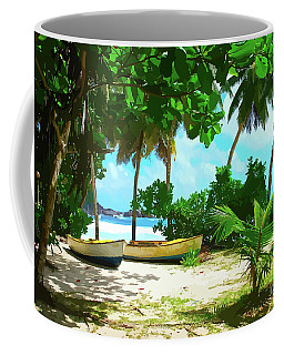 Two Boats On Tropical Beach Coffee Mug