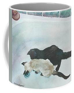Coffee Mug featuring the painting Two Cats In A Tub by Anne Gifford