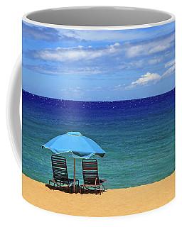 Two Chairs And An Umbrella Coffee Mug by James Eddy