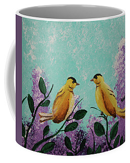 Two Chickadees Standing On Branches Coffee Mug