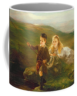 Two Children Fishing In Scotland   Coffee Mug