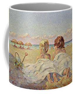 Two Children On The Beach Coffee Mug